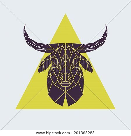 Polygonal buffalo head. Animal sign. Vector illustration.