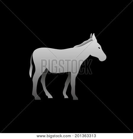 Silhouette of a gray donkey standing. Donkey side view profile.