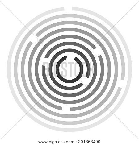 Circular labyrinth, maze icon. Out of the labyrinth. Flat design, vector illustration, vector.