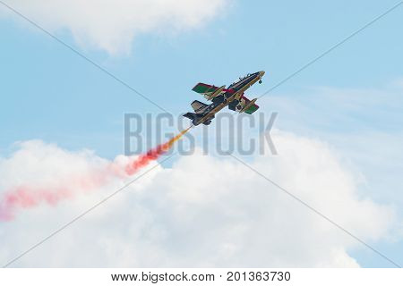 ZHUKOVSKY, RUSSIA - JULY 20, 2017: The Aermacchi MB-339 plane of the aerobatic team