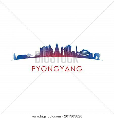 Pyongyang skyline silhouette. Vector design on white background.
