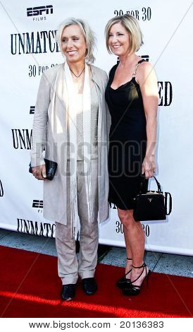 NEW YORK - AUGUST 26: Tennis legends Martina Navratilova (L) and Chris Evert (R) attend ESPN Films'