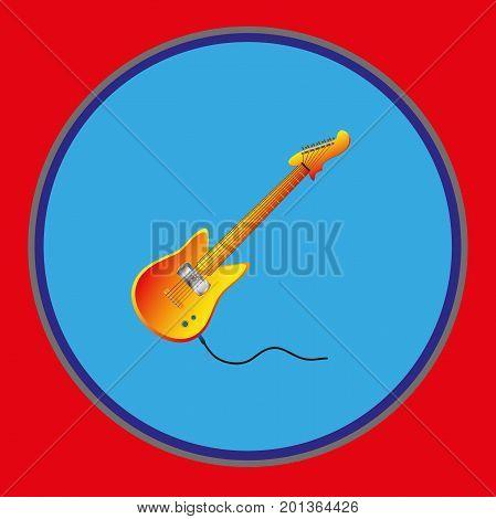 Electric guitar. Emblem sticker , template . Vector illustration  Musical instrument