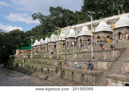Nepal August 2017 : View of Pashupatinath Temple and Bagmati river Kathmandu Valley Nepal