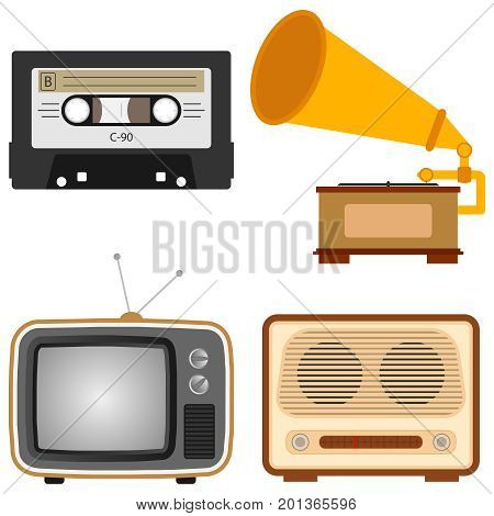 Retro subjects. An old TV a retro radio a gramophone an audio cassette. Flat design vector illustration vector.