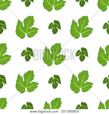 Seamless pattern with green hops and leaves vector illustration. Seamless beer leaf branch decoration green hop pattern botanical flower nature. Nature agriculture hop pattern food brewery.