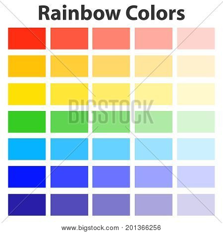 The colors of the rainbow the color palette of the rainbow. Flat design vector illustration vector.