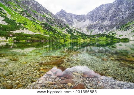 Reflection In Water At Lake In High Tatras Mountains, Slovakia