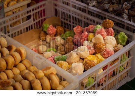 a bakpia and geplak traditional exotic food from jogja yogyakarta indonesia java
