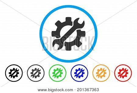 Configure Wrench And Gear vector rounded icon. Image style is a flat gray icon symbol inside a blue circle. Additional color versions are grey, black, blue, green, red, orange.