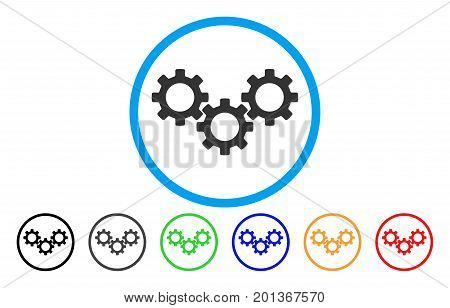 Gear Box vector rounded icon. Image style is a flat gray icon symbol inside a blue circle. Additional color variants are grey, black, blue, green, red, orange.