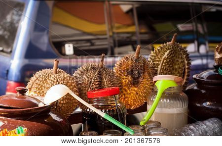 a durian ice street food in mailoboro jogja yogyakarta in indonesia java