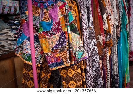 batik traditional clothes from indonesia store in jogja malioboro java