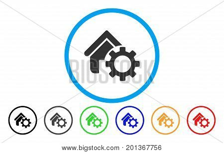 Homepage Options Gear vector rounded icon. Image style is a flat gray icon symbol inside a blue circle. Bonus color variants are gray, black, blue, green, red, orange.