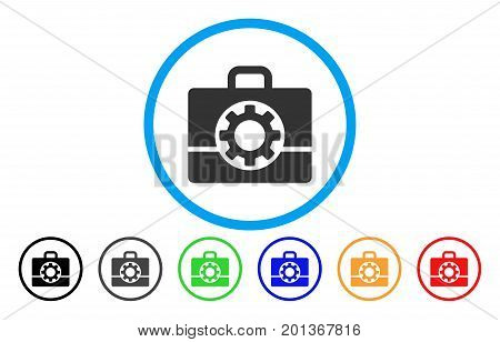 Mechanics Case vector rounded icon. Image style is a flat gray icon symbol inside a blue circle. Additional color variants are grey, black, blue, green, red, orange.