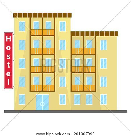 Hostel, hostel icon, hotel. Flat design, vector illustration, vector.