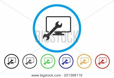 Wrench Configure Desktop vector rounded icon. Image style is a flat gray icon symbol inside a blue circle. Additional color variants are gray, black, blue, green, red, orange.