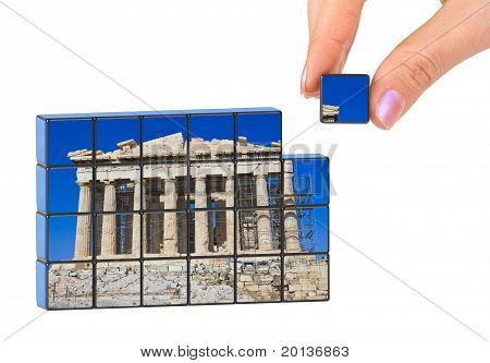 Hand And Parthenon (my Photo) Puzzle