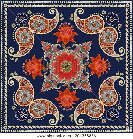 Tea box packaging design. Unique square carpet in indian style with red flowers and paisley pattern. Bandana print.