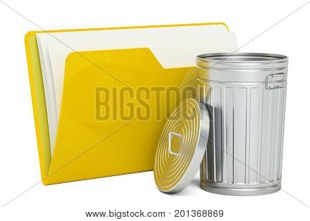 Computer folder icon with rubbish bin 3D rendering isolated on white background
