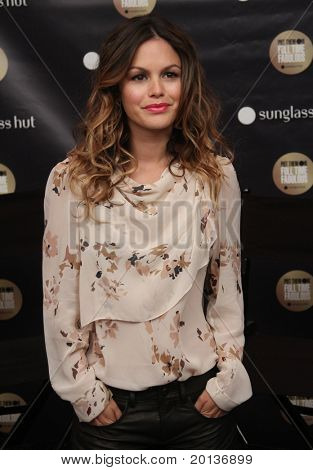 NEW YORK - SEPTEMBER 10: Actress Rachel Bilson visits the Sunglass Hut booth at Mercedes-Benz Fashion Week at Lincoln Center on September 10, 2010 in New York City.