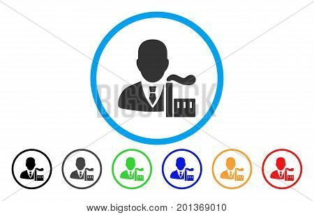 Capitalist Oligarch vector rounded icon. Image style is a flat gray icon symbol inside a blue circle. Additional color variants are gray, black, blue, green, red, orange.