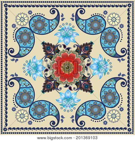 Paisley floral pattern in russian style. Medallion with red poppy and light blue flowers. Winter design. Tablecloth, shawl, carpet, cushion, wrapping design.