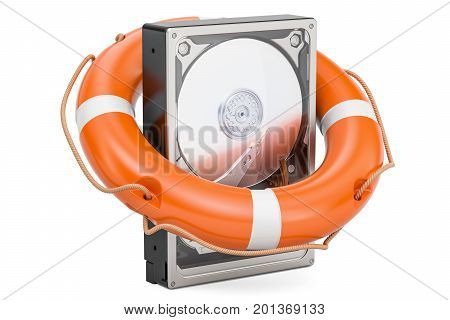 Hard Disk Drive HDD with lifebuoy. Data safety and protection concept 3D rendering isolated on white background