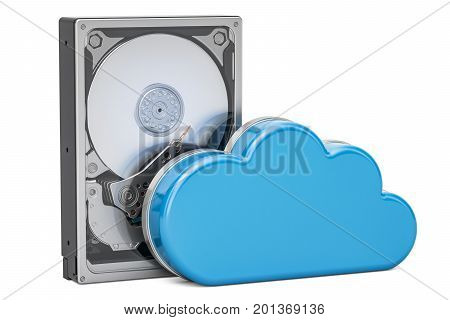 Hard Disk Drive HDD with computing cloud. Storage concept 3D rendering isolated on white background