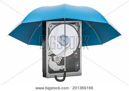 Hard Disk Drive HDD with umbrella protection concept. 3D rendering isolated on white background