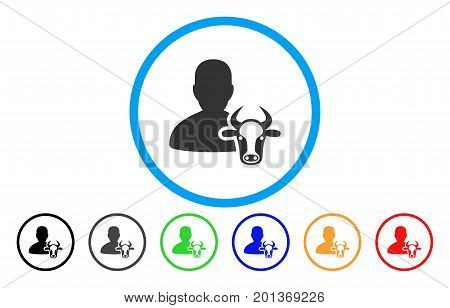 Cow Farmer vector rounded icon. Image style is a flat gray icon symbol inside a blue circle. Bonus color variants are gray, black, blue, green, red, orange.