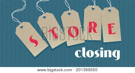 Store closing sale vector illustration background with open price tags. Template nonstandard banner design element for store closing clearance