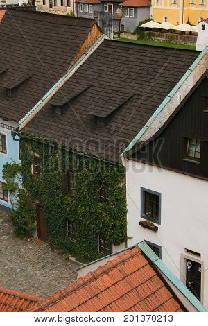 Palace with ivy in the historic center of Cesky Krumlov