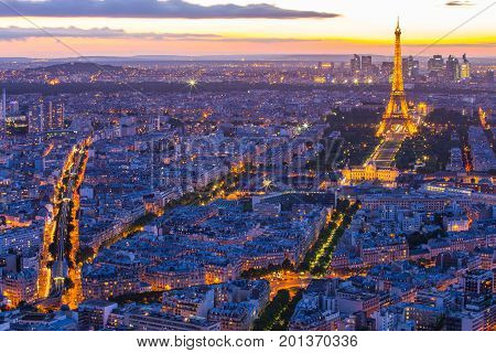 Paris Cityscape With Eiffel Tower At Night In Paris, France