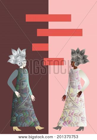 Illustration for the book cover. Abstract african and european girls models on brown and pink background. Space for text. Banner. Fashion week.