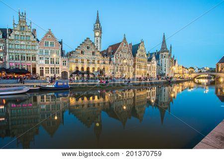 The Graslei In City Center Of Ghent, Belgium