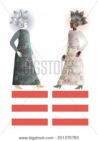 Abstract fashion girls models in floral paisley helmets. African and european females isolated on white background. Space for text. Feng shui trigram kun - the personification of the feminine.