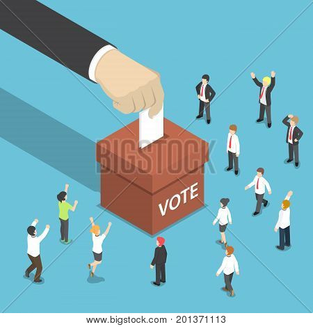 Isometric Businessman Hand Put Voting Paper In The Ballot Box.