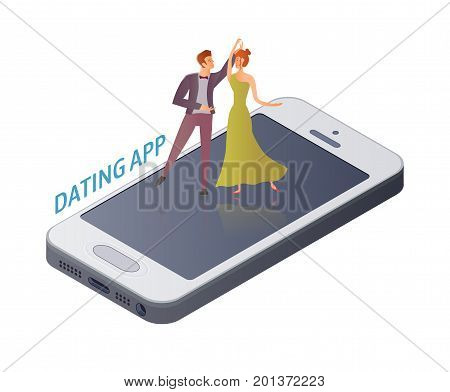Mobile Dating app concept. Young couple, man and woman dancing ballroom dance on a date on the smartphone screen. Vector illustration, isolated on white background.