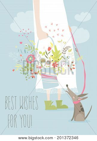 Girl holding bouquet flowers. Vector greeting card