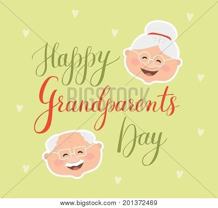 Vector greeting card Happy Grandparent Day. Lettering Grandparents Day with illustrations on color texture background. It's perfect for greeting cards, banner, poster, design elements