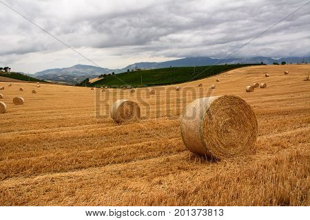 Straw bales in the field with incoming storm