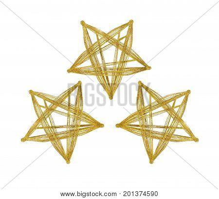 Three golden sparkling stars isolated on white background. Christmas decor.