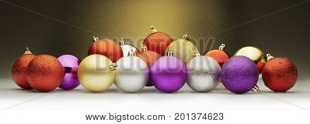 Christmas balls set against a golden stardust background. Large horizontal layout for banners