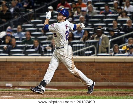 FLUSHING, NY - SEPTEMBER 15: New York Mets first baseman Ike Davis bats during a baseball game at CitiField ballpark against the Pittsburgh Pirates on September 15, 2010 in Flushing, New York.