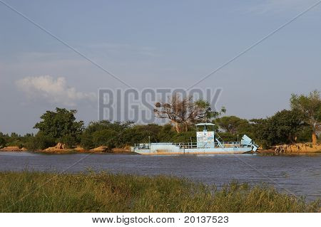 A ferry wreck on Niger river in Africa