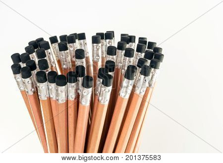 Eraser At The End Of Pencil, Group Of Pencil