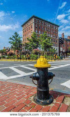 Fire hydrant near the road in Boston