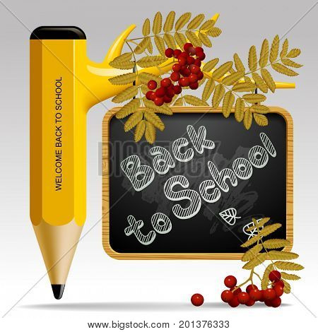 Back to school design with pencil as tree, leaves, rowan berries and suspended blackboard. Education sign and symbol