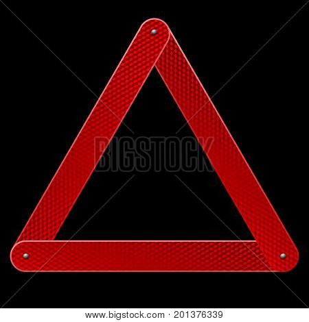 Red reflective warning triangle emergency sign